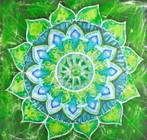 9070177-abstract-green-painted-picture-with-circle-pattern-mandala-of-anahata-chakra